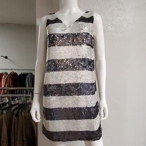Stripe Sequin Cocktail/Party Dress